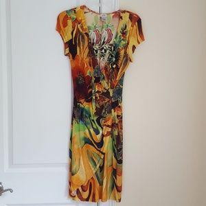Cache tropical print dress